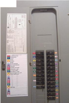 Color-Coded Circuit Breaker Electric Panel Labels and Directory Schedule
